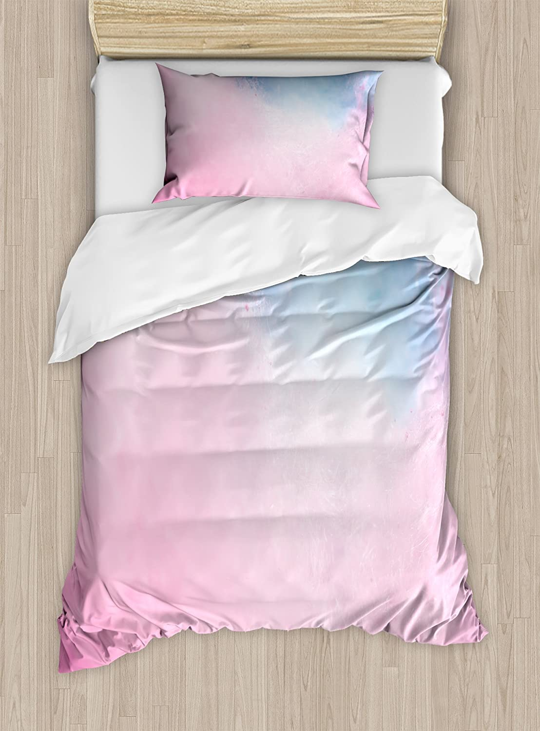 Lunarable Blush Duvet Cover Set, Cotton Candy Effect with Pastel Blue and Pink Colors Fluffy Carnival Sweets, Decorative 2 Piece Bedding Set with 1 Pillow Sham, Twin Size, Azure Blue