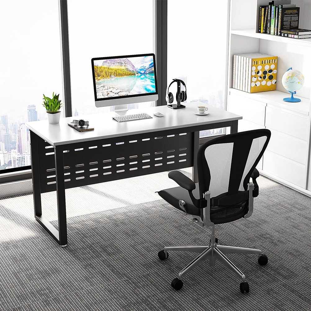 Computer Desk, LITTLE TREE 55'' Wide Large Simple Office Desk PC Laptop Study Writing Gaming Table Workstation Furniture for Home Office, White + Black Metal Legs