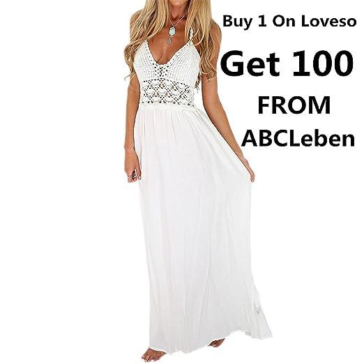 e6dea6c2c9c8 Bekleidung Kleid Loveso Sommerkleid Damen Boho Böhmischen Elegantes Vintage  Einfarbig Ohne Arm Schulterfrei Weiß Strick Polyester
