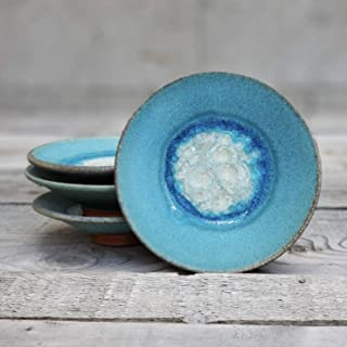 product image for Geode Ring Dish in Turquoise, Individual Geode Ring Dish, Fused Glass Dish, Trinket Dish, Soap Dish, Crackle Glass, Candle Holder, Dock 6 Pottery, Kerry Brooks Pottery