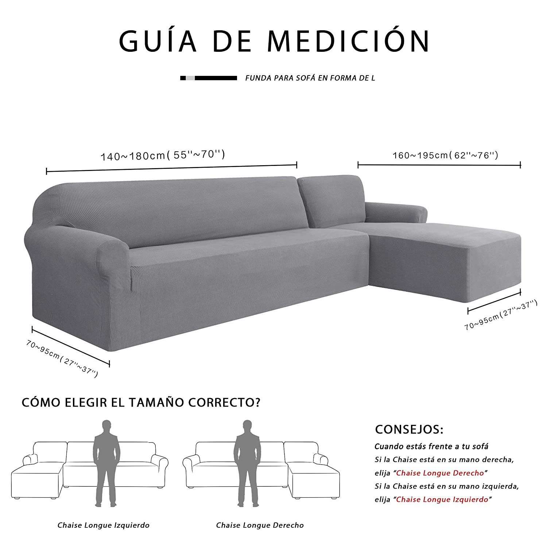 subrtex Funda Sofa Chaise Longue Brazo Derecho Elastica Largo Protector para Sofa Chaise Longue Derecha Antimanchas Ajustable (Gris Claro)