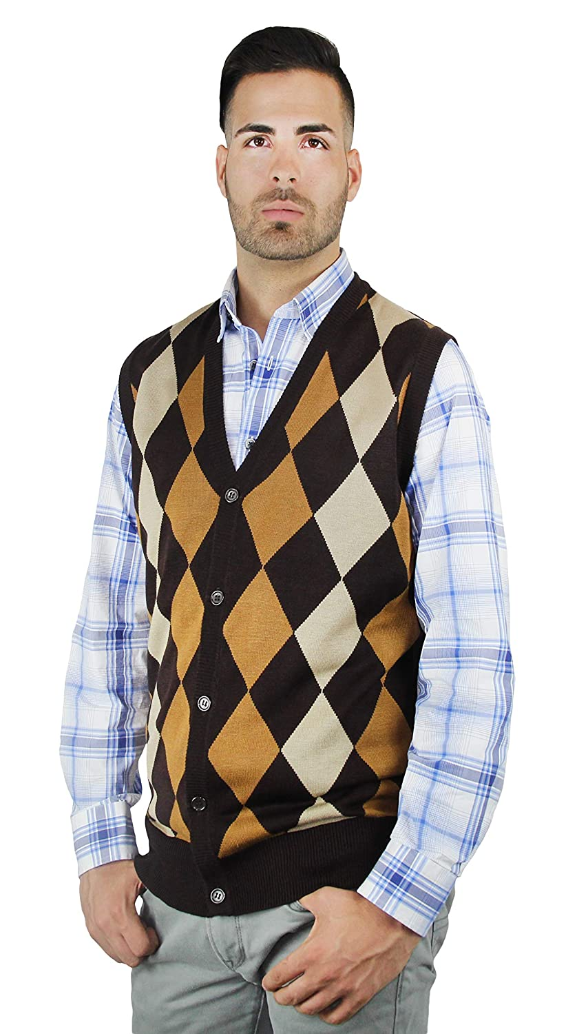 1920s Men's Sweaters, Pullovers, Cardigans Blue Ocean Argyle Button-Down Sweater Vest $25.00 AT vintagedancer.com