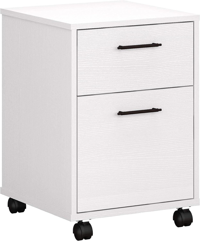 Bush Furniture Key West 2 Drawer Mobile File Cabinet, Pure White Oak
