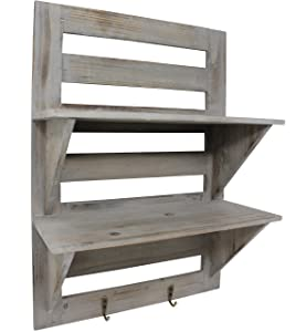 Vintage Rustic Torched Wood Hanging Wall Mount Organizer with 2 Hooks, 2-Tier Storage Rack Shelves – Farmhouse/White Washed Home Decor Shelf for Kitchen, Bedrooms, or Bathroom