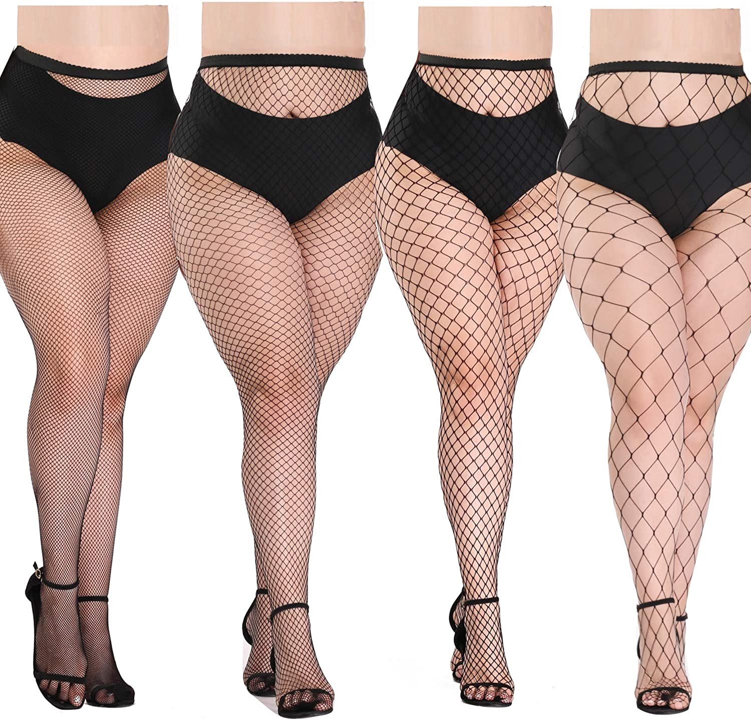 akiido High Waist Tights Fishnet Stockings Thigh High Stockings Pantyhose  (1-A--4Pairs1) at Amazon Women's Clothing store