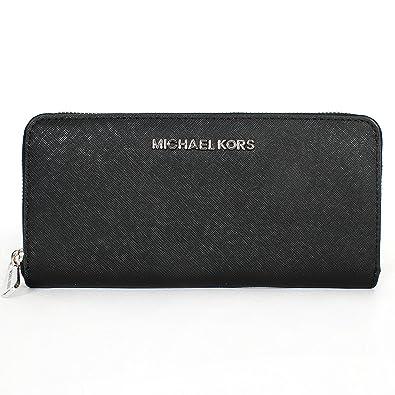 9702691de8c3ac Image Unavailable. Image not available for. Color: Michael Kors Jet Set  Travel Zip Around Continental Wallet Silver/black
