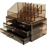 FOBUY Clear Acrylic Makeup Organiser Storage Stand Display Table for Cosmetics Set Holder, Jewellery (Brown transparenc)