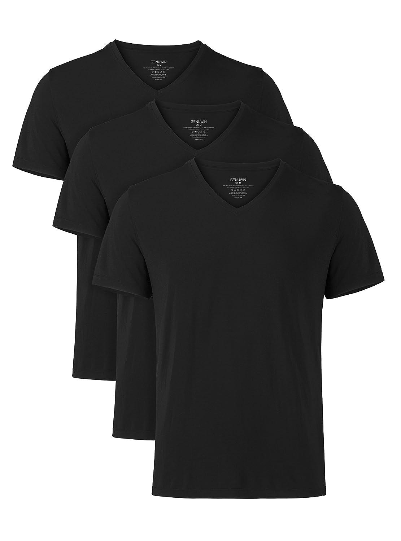 Pacco da 3 Design Elegante Classico Maschile Genuwin T-Shirt per Uomo Tessuto Super Soft Resistente e Traspirante Antisudore Maglietta Intima Tee di Micromodal Manica Corta a Scollo V