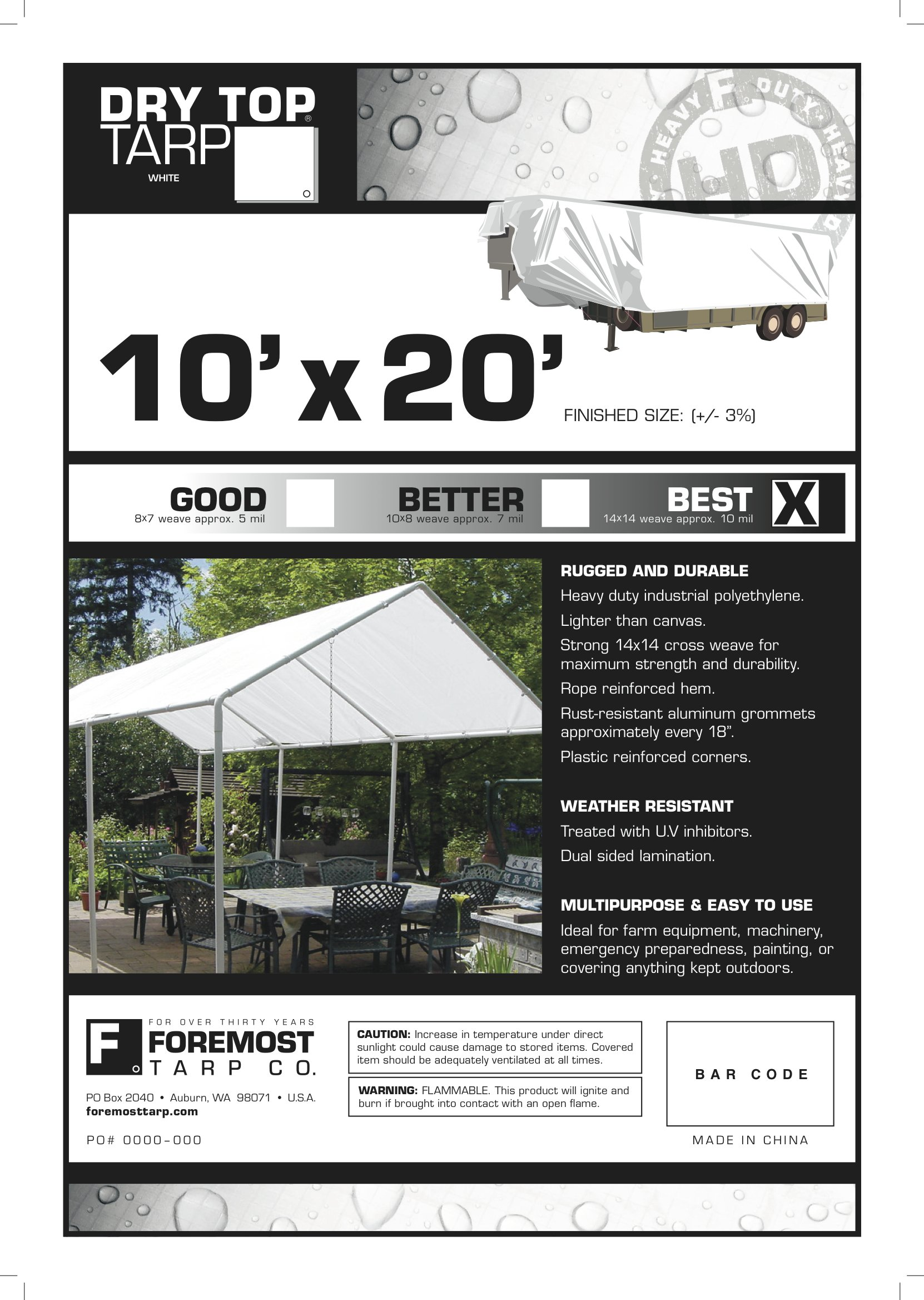 10' x 20' Dry Top Heavy Duty White Full Size 10-mil Poly Tarp item #310207