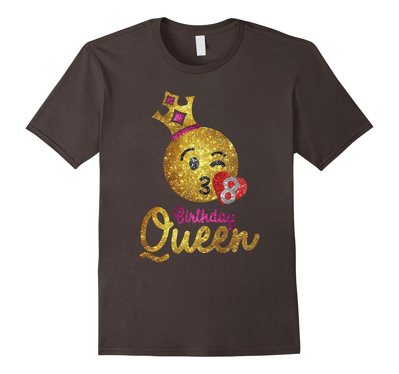 Birthday Queen Emoji Shirt - Girls 8th Birthday Shirt-FL