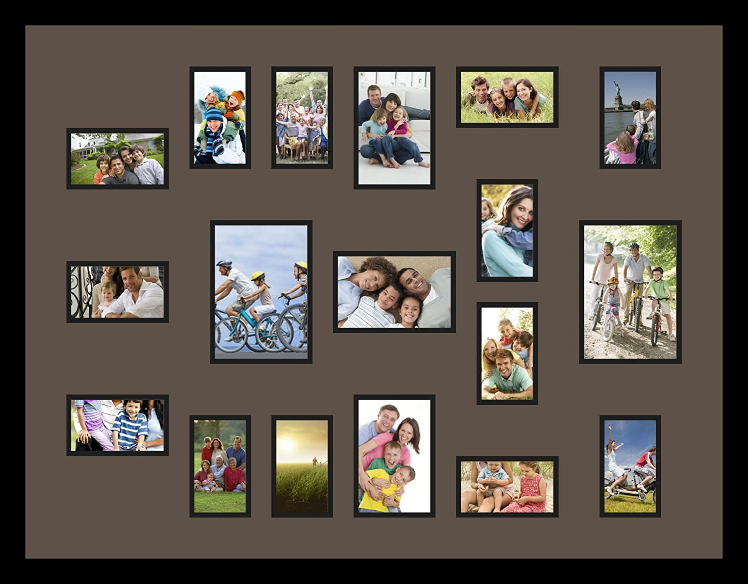 4-Opening Brushed Aluminum Photo Frame Collage Satin Silver Home Decor Gift