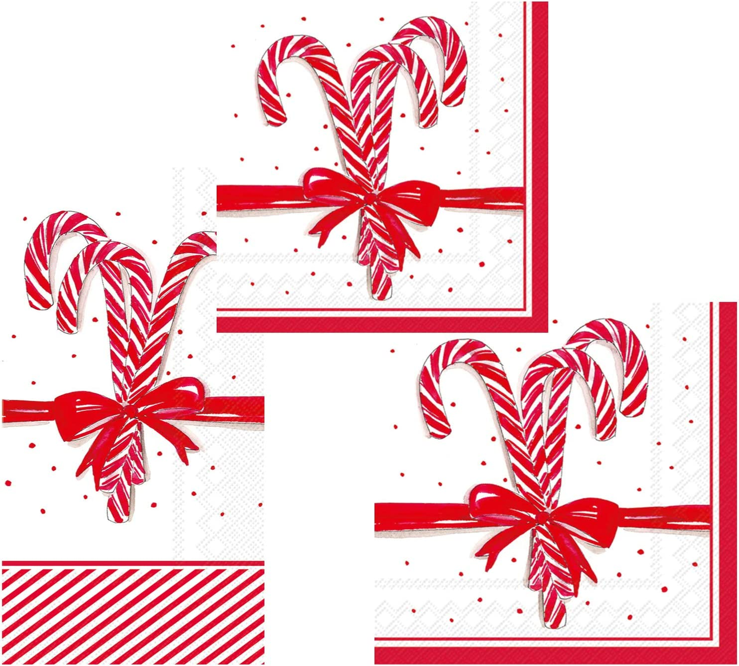 Christmas Holiday Candy Cane Themed Napkin Set - Bundle Includes Guest Napkins/Towels, Lunch Napkins, and Beverage Napkins