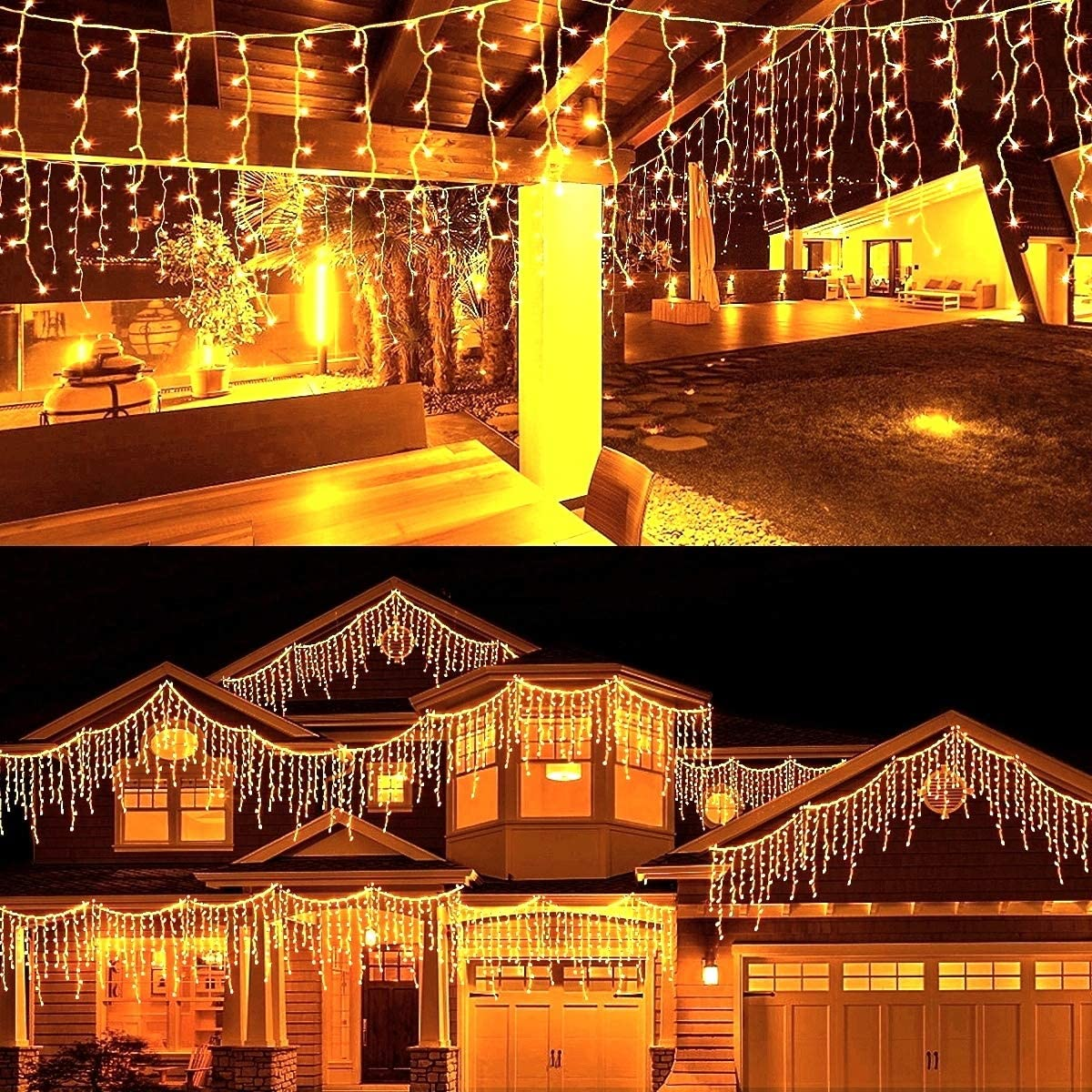 MAOYUE 29 ft 450 LED Christmas Decorations Outdoor Christmas Decorations Icicle Lights with Timer Christmas Lights Waterproof Cascading Lights for Outside Christmas Decor, Porch, Yard, Warm White