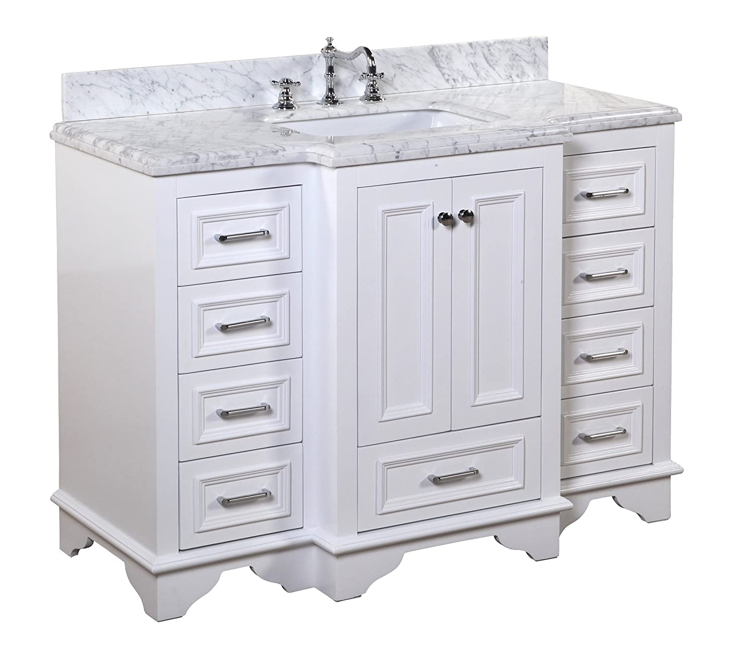 Nantucket 48-inch Bathroom Vanity Carrara White Includes White Cabinet with Soft Close Drawers Self Closing Doors, Authentic Italian Carrara Marble Top, and White Ceramic Sink
