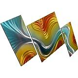 "Waves galore Metal Wall Art Decor - Large Set of 3 panels Modern Hanging Sculpture Artwork - 32"" x 65"""