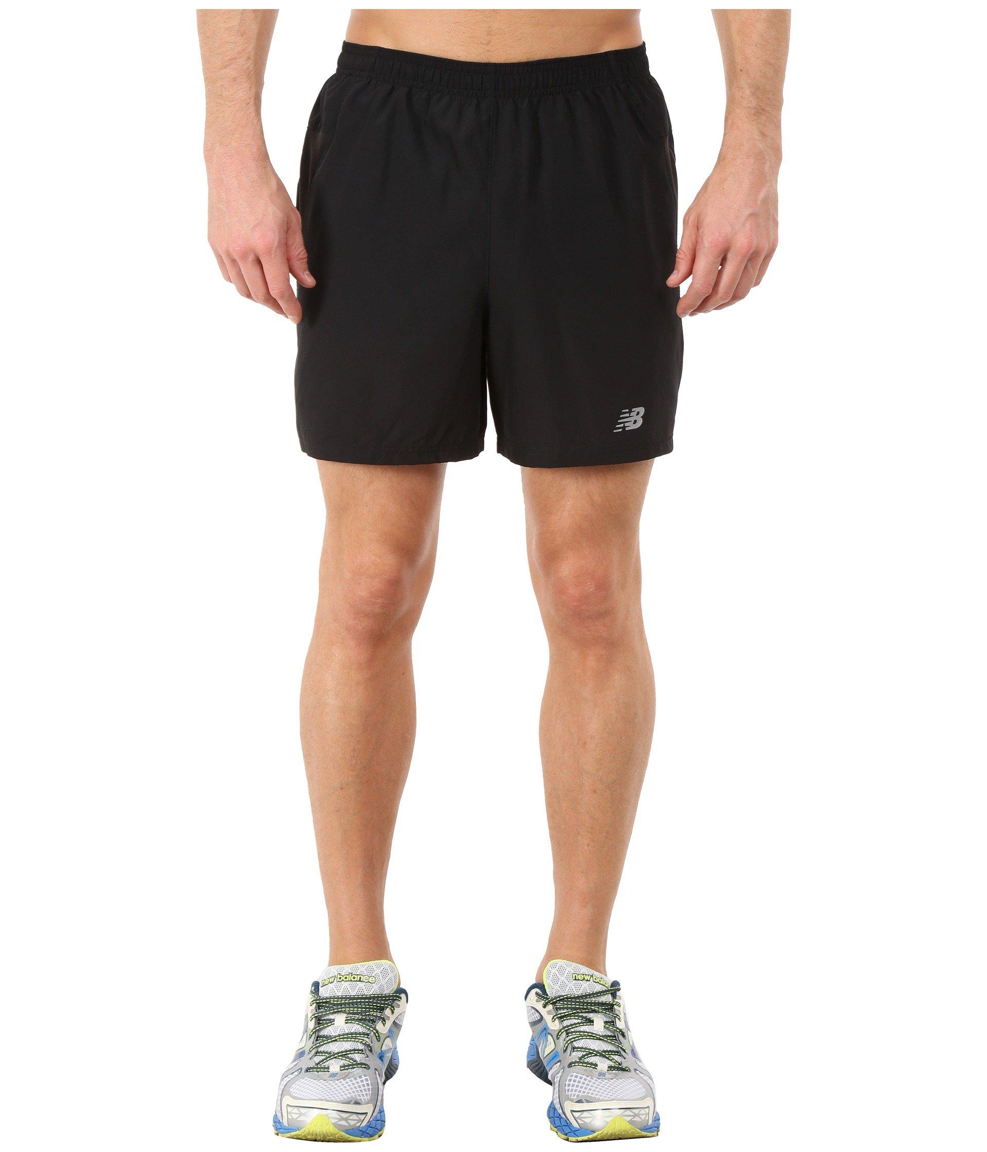 "New Balance Men's 5"" Woven Run Shorts, Black, Small"