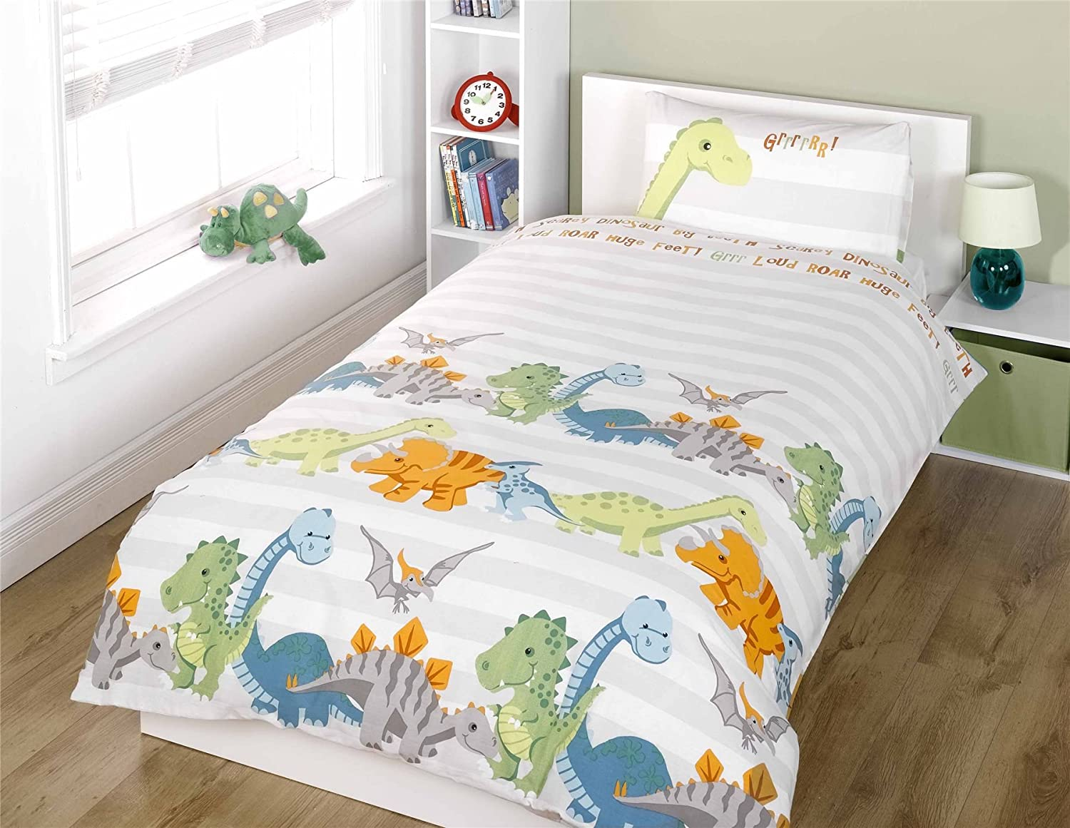 Dinosaurs Natural Junior Duvet Cover and Pillowcase Set: Amazon.co ... : single bed quilt cover size - Adamdwight.com