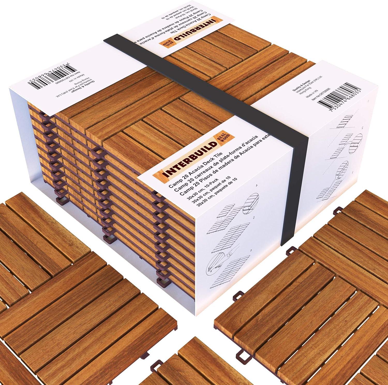 Interbuild Camp 20 - Baldosas de madera de acacia para balconas y terrazas -30 x 30 cm - 0,9 m2 por PACK - 10 en total