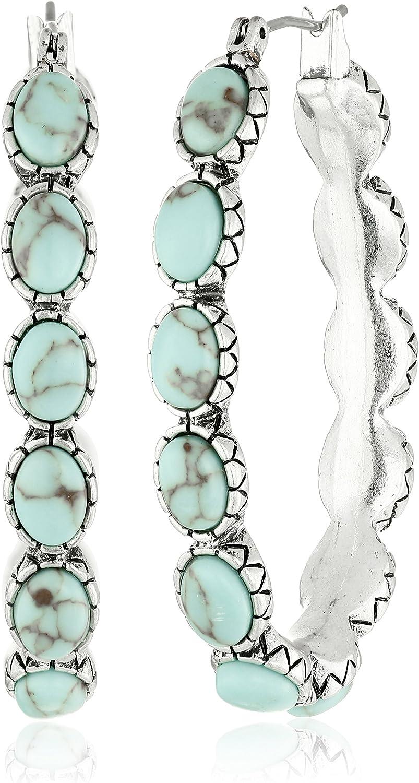 Lucky Brand Pendientes de aro de plata y imitación turquesa