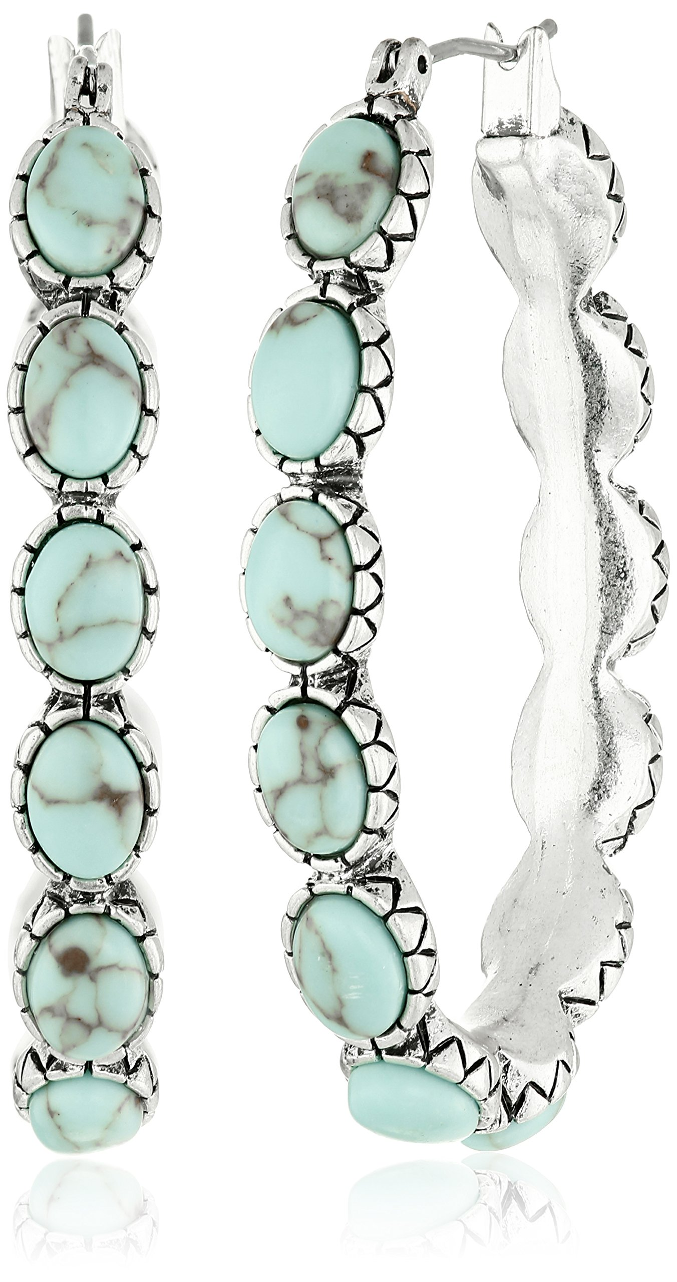 Lucky Brand Silver-Tone and Faux Turquoise Hoop Earrings by Lucky Brand