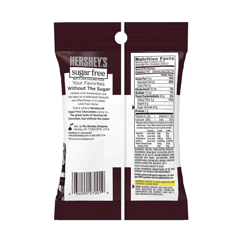 Amazon.com : HERSHEY'S Chocolate Bars, Sugar Free / Gluten Free ...