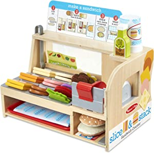 Melissa & Doug Wooden Slice & Stack Sandwich Counter with Deli Slicer – 56Piece Pretend Play Foodpiece, Multi