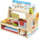 Melissa & Doug Wooden Slice & Stack Sandwich Counter with Deli Slicer – 56-Piece Pretend Play Food Pieces