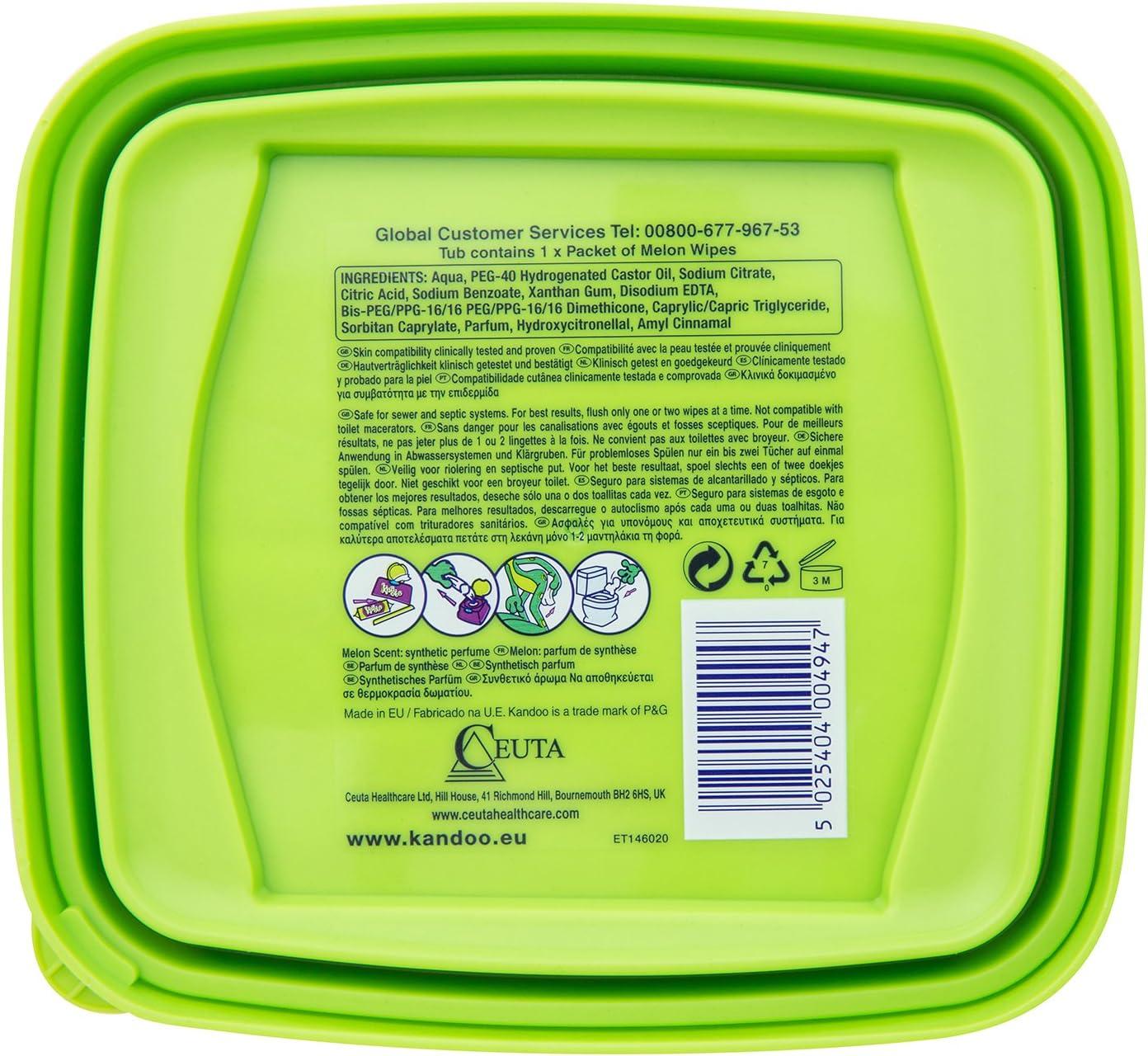 Caja recargable con dispensador de 55 toallitas Melon nueva f/órmula KANDOO