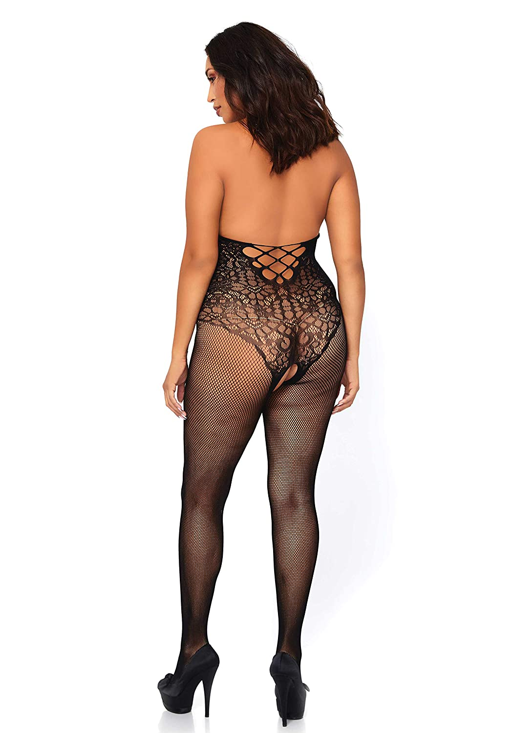 d5c0d6fd5f44 Sexy Ladies Fishnet Floral Lace Hourglass Bodystocking Seamless Erotic Cut  Out Halterneck Body Crotchless Curve Plus Size 14 16 18 (UK L/XL): Amazon.co .uk: ...