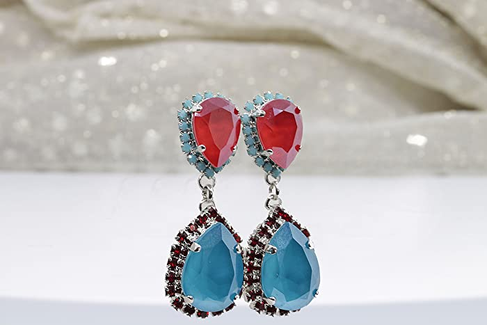 984e7efa4 Amazon.com: BLUE & RED EARRINGS, Coral Red Earrings, Patriotic ...