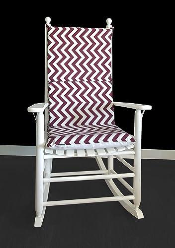 Charmant Rocking Chair Cushion   Maroon White Chevron