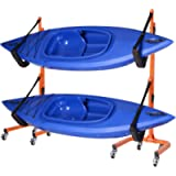 Rolling Kayaks Rack Storage- Self Standing Two Kayaks Cradles With Adjustable Safety Straps and Wheels for Mobility…