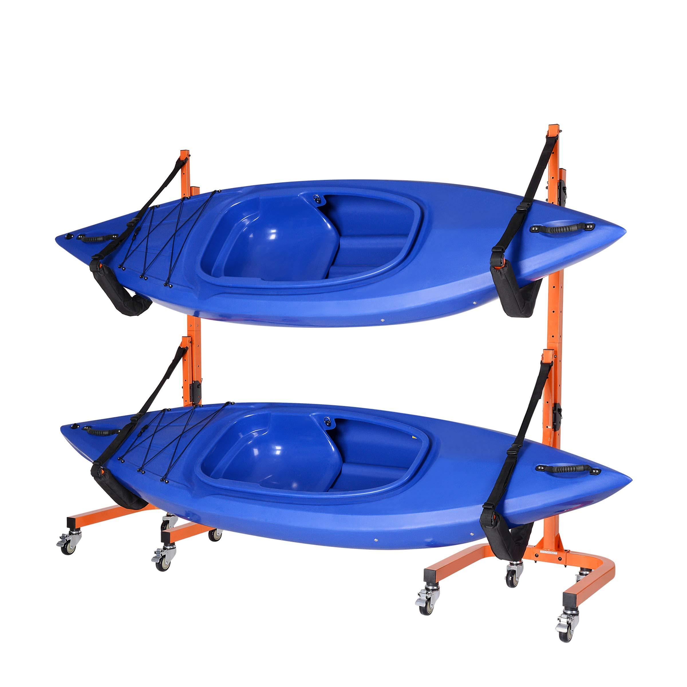 RAD Sportz Rolling Kayaks Rack Storage- Self Standing Two Kayaks Cradles with Adjustable Safety Straps and Wheels for Mobility- Indoor Outdoor use by RAD Sportz