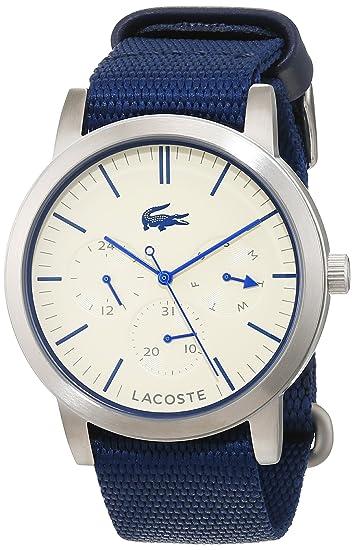 Reloj Cuarzo Lacoste para Hombre con Beige Analogico Y Azul Tela 2010875: Amazon.es: Relojes