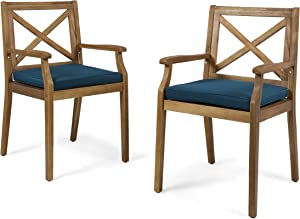 Christopher Knight Home 304682 Peter | Outdoor Acacia Wood Dining Chair with Cushion | Set of 2 | Teak/Blue