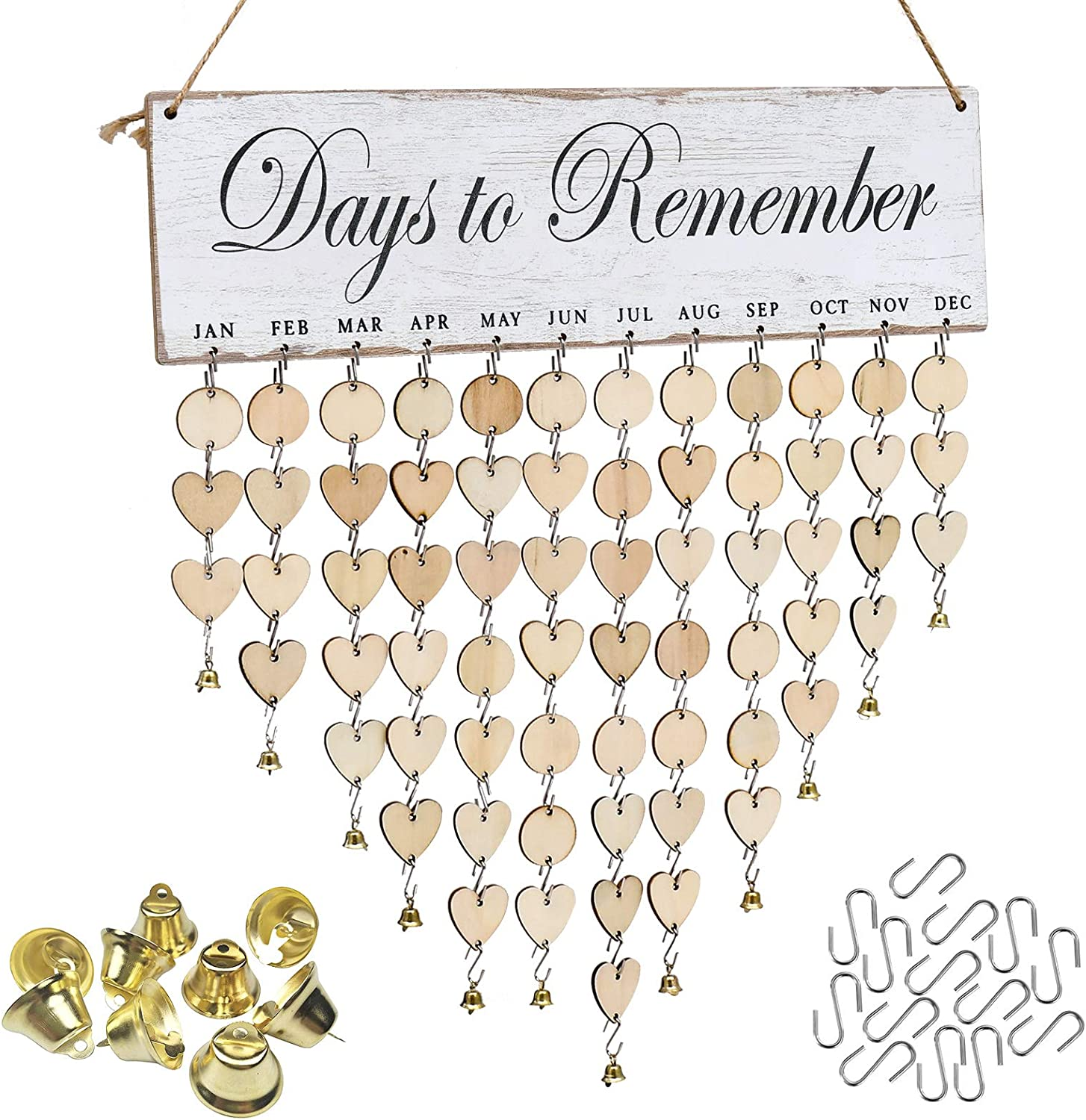 ATOBART Days to Remember Board - DIY Wood Family Birthday Reminder Calendar Hanging Board for Important Dates Tracker Home Decorative Plaque Wall Hanging Handmade Creative Christmas Day Gifts