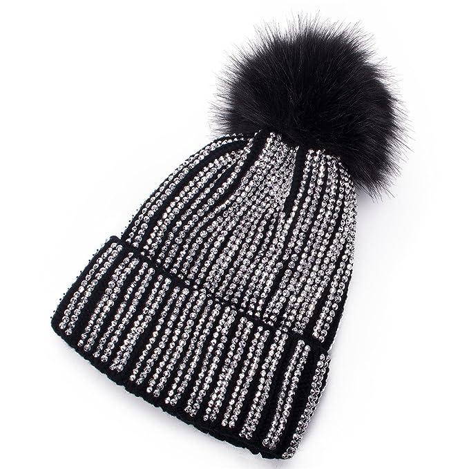 3bec1e745e8940 Lawliet Womens Faux Fur Pom Pom Beanie Ski Hat Cap Slouchy Knit Warm A469  (Black
