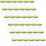 36 Pack Mini Mason Jars – Clear Jar Set with Gold Lids for Spices, Honey, Jam, Baby Food, Great DIY Gift for Wedding, Bridal Shower, and Baby Shower, 1.5 fl oz