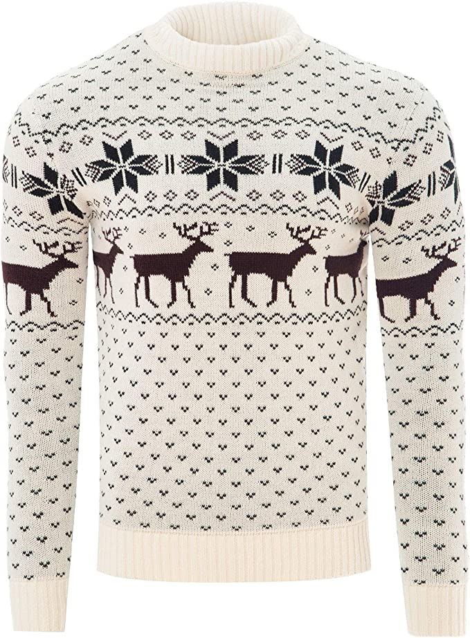 Mens Womens Christmas Novelty Jumper Xmas Burgundy Red Reindeer Nordic Sweater