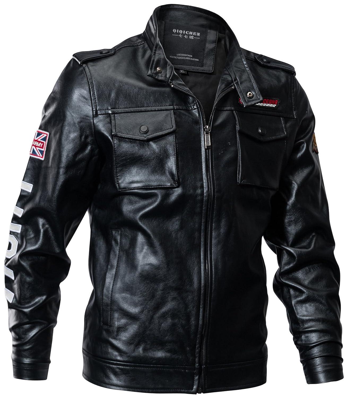 QQ2MM Herren Frühling Herbst Fashion Outdoor Multi-Pocket Militär Zipper  Kunstlederjacke Leder Jacke Bomber Flieger Parka Mäntel Men s Leather Coat  Jacket ... 82cccd0ada