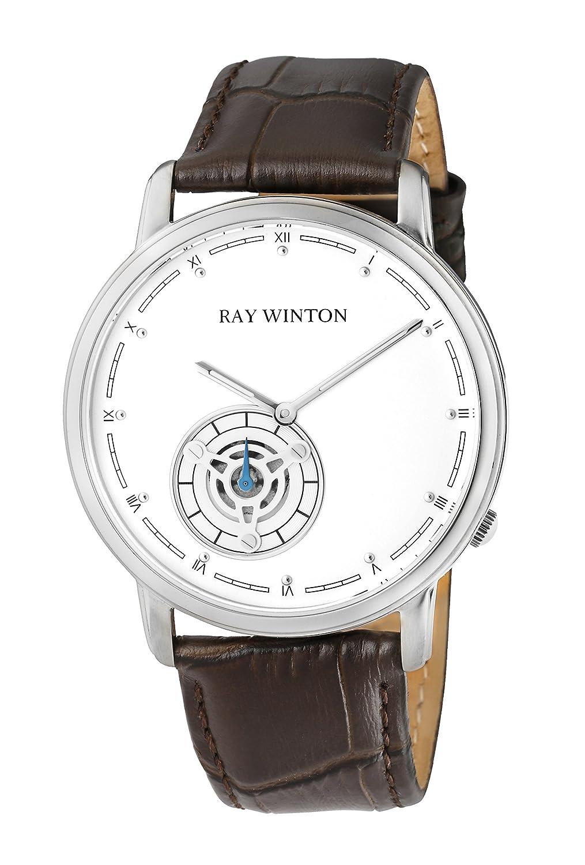 Ray Winton Herren Analog weißes Zifferblatt braun Leder Armbanduhr