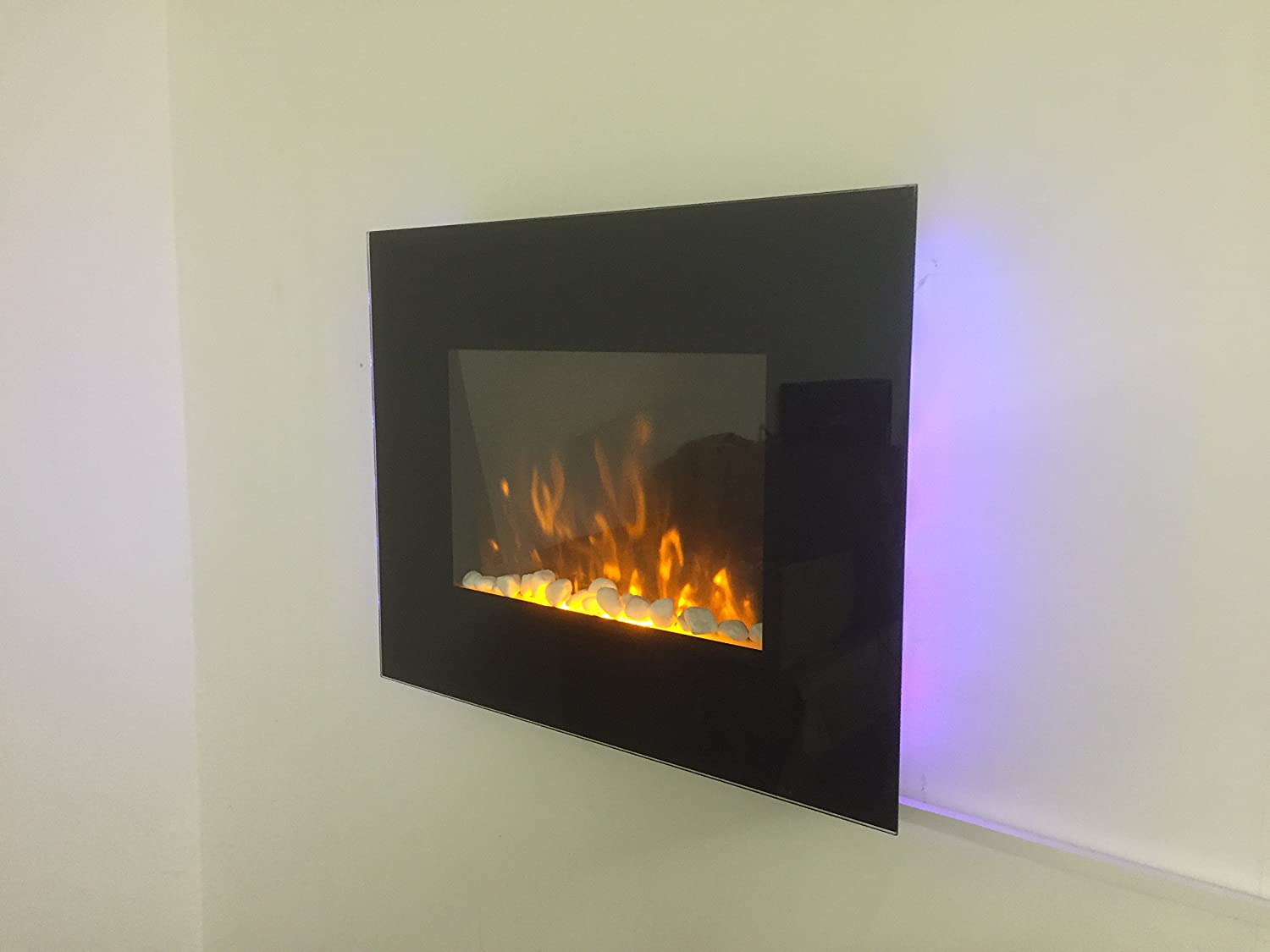 2017 truflame led side lit 7 colours wall mounted flat glass
