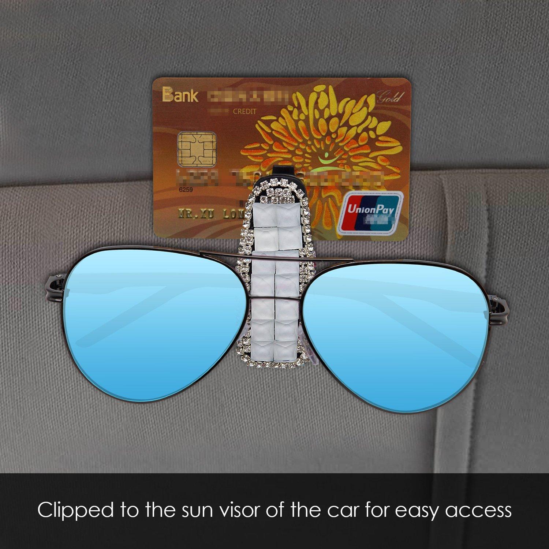 White TRENDBOX Bling Crystal Sunglasses Clip Holder for Car Sun Visor