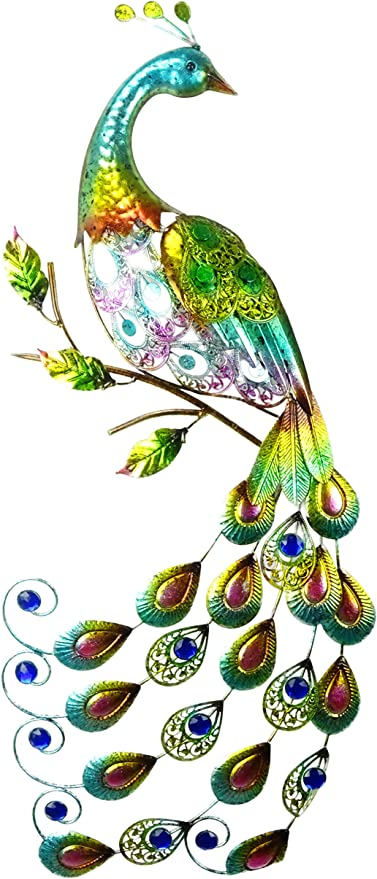 Christmas Concepts 81cm Colourful Metal Peacock With Jewel Tail