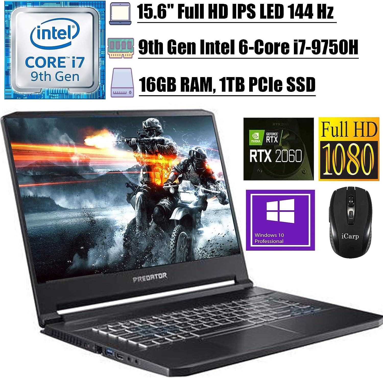 "2020 Newest Acer Predator Triton 500 Gaming Laptop 15.6"" FHD IPS 144 Hz Intel 6-Core i7-9750H 16GB DDR4 1TB PCIe SSD 6G RTX 2060 RGB Backlit KB Thunderbolt 3 Win 10 Pro + iCarpWirelessMouse"