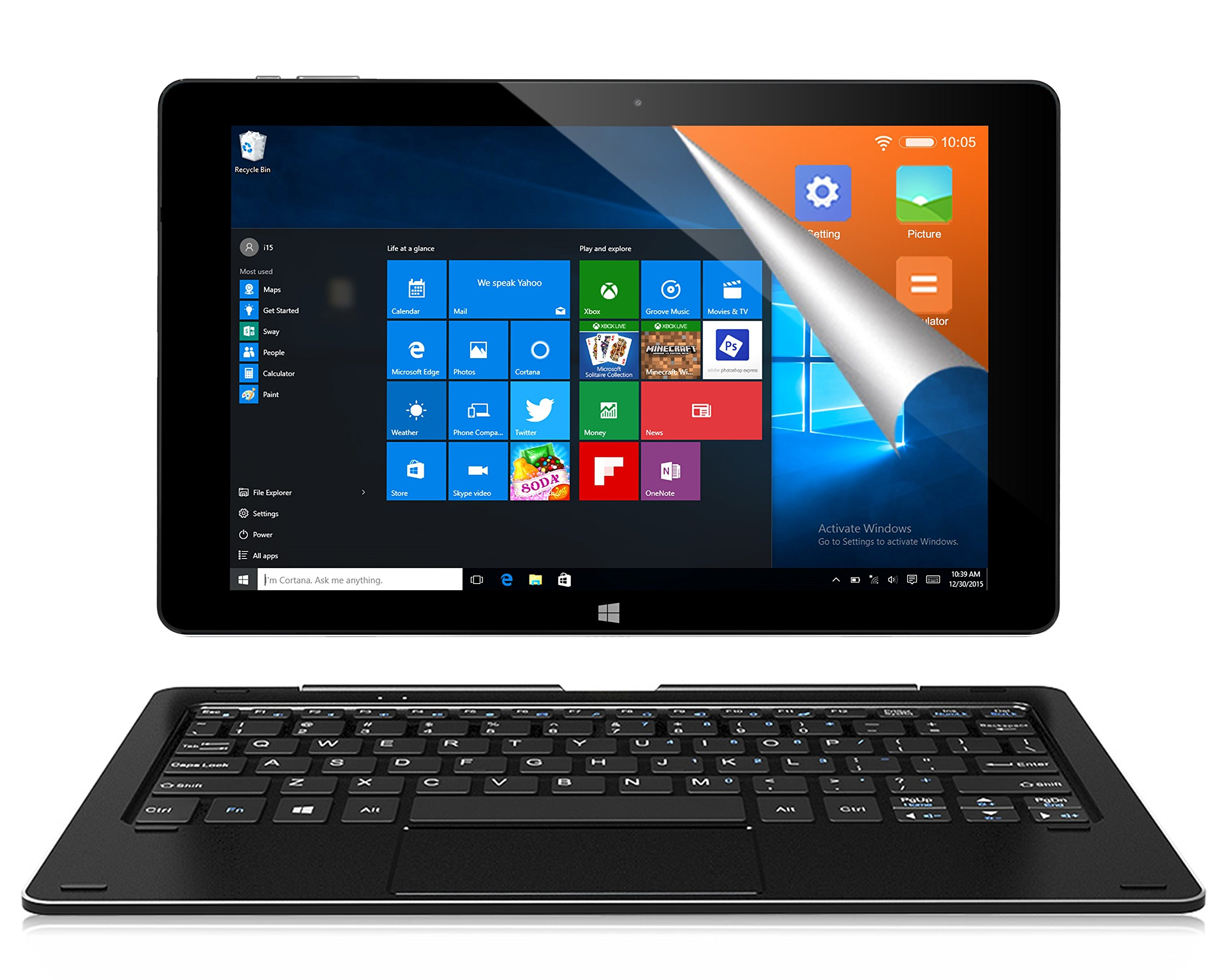 ALLDOCUBE iwork10 Pro 2-in-1 Tablet PC with Keyboard, 10.1 inch 1920x1200 IPS Screen, Windows 10 + Android 5.1, Intel Atom X5 Z8350 Quad Core, 4GB RAM, 64GB ROM, USB Type-C, HDMI Output, Black