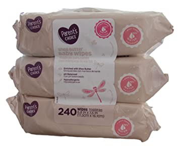 Parents Choice - Baby Wipes - Shea Butter - 3 Packs of 80