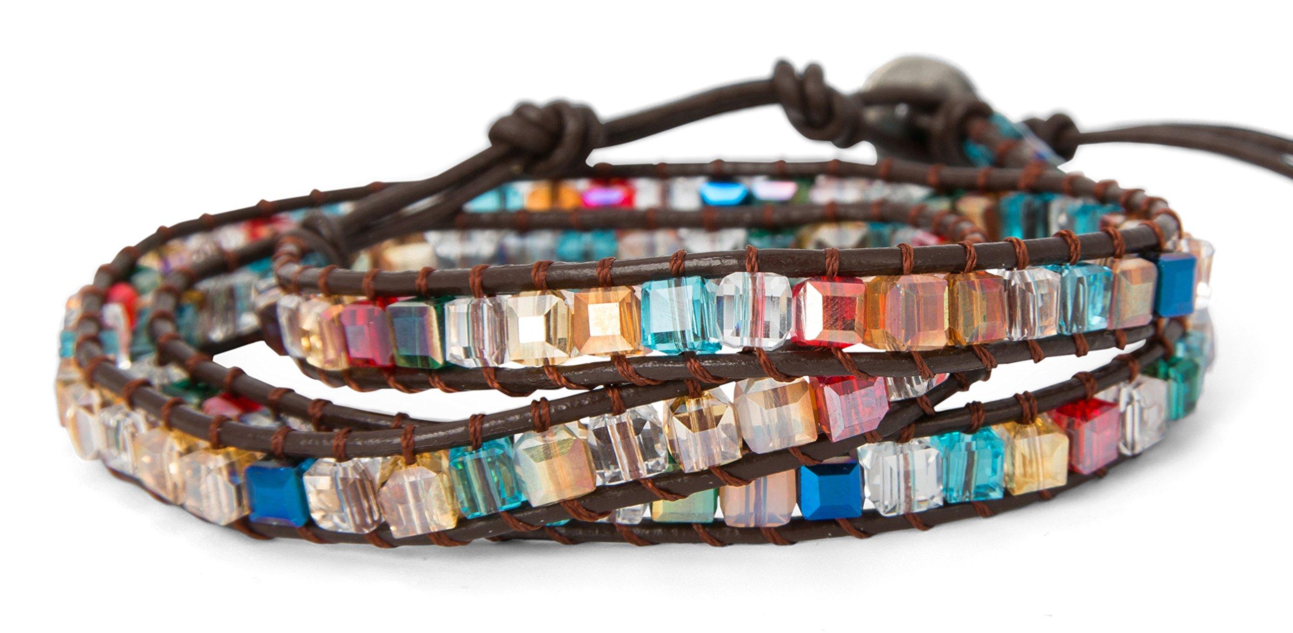 SPUNKYsoul 3 Wrap Dazzling Multi Color Crystal Leather Bracelet Collection by SPUNKYsoul