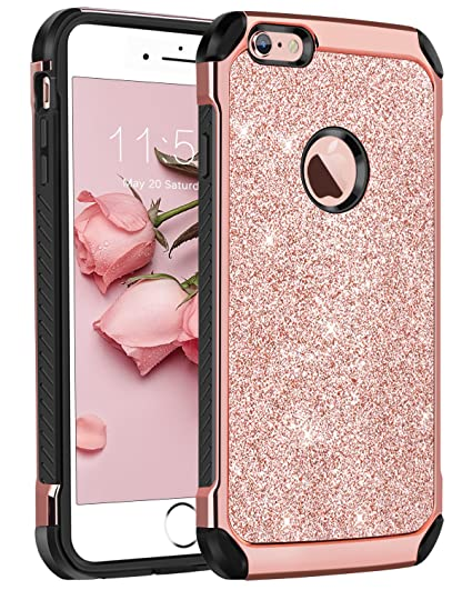 new arrival 83c9b 4e815 BENTOBEN iPhone 6 Case, iPhone 6S Case, Glitter 2 in 1 Slim Dual Layer  Hybrid Hard Cover Sparkly Shiny Soft Rubber Rugged Shockproof Protective  Phone ...