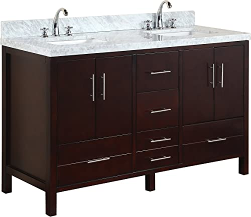 California 60-inch Double Bathroom Vanity Carrara Chocolate Includes Modern Chocolate Cabinet